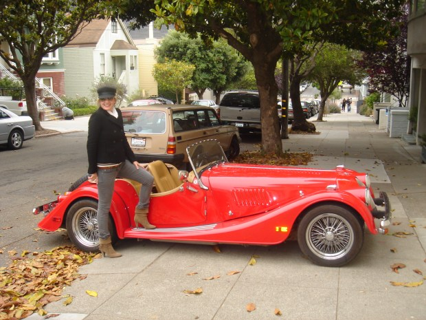 Jayne in San Francisco next to the Morgan Plus 8