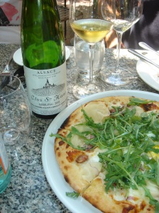 Woodfired Pizza and Trimbach Riesling at Tra Vigne, St Helena.