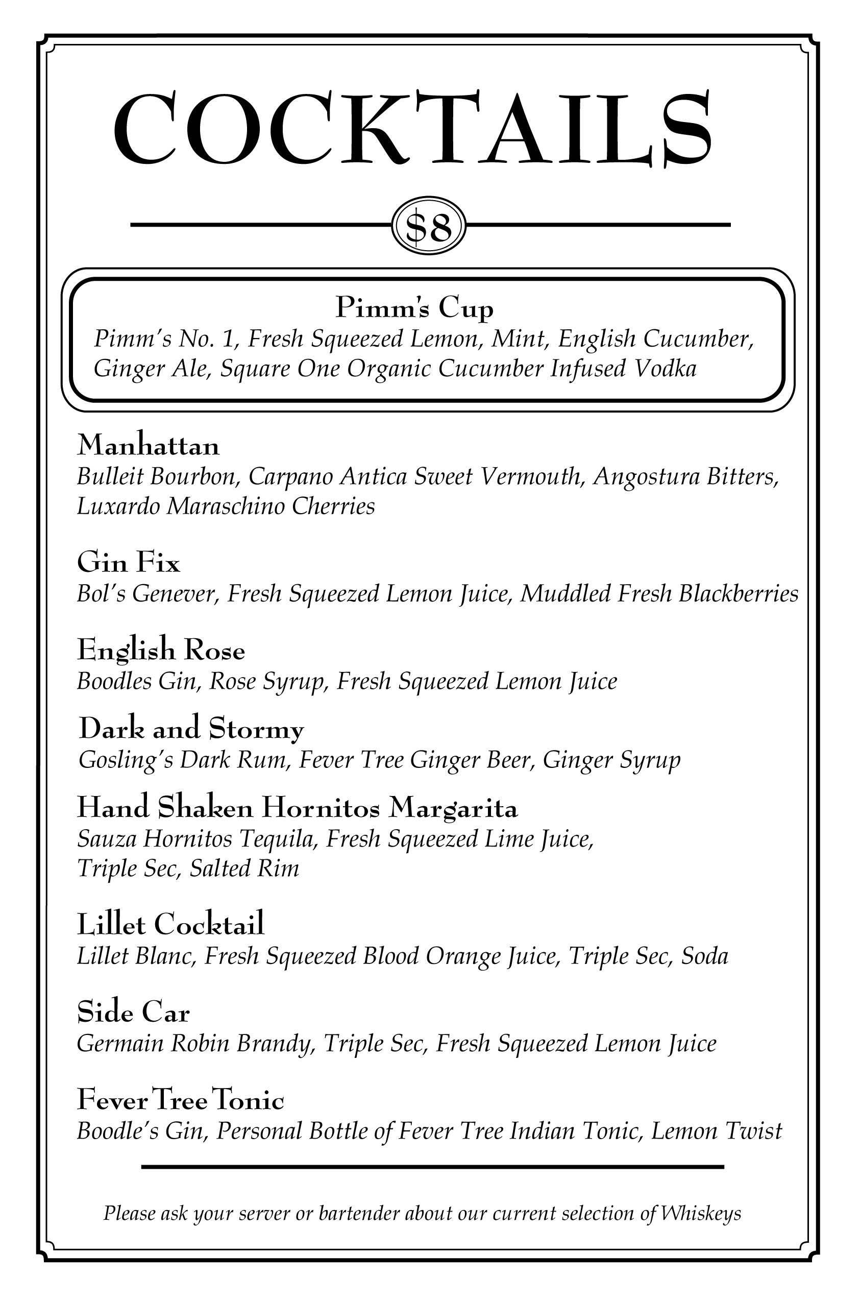 30th street blog new cocktail list at jaynes gastropub for Mixed alcoholic drinks list