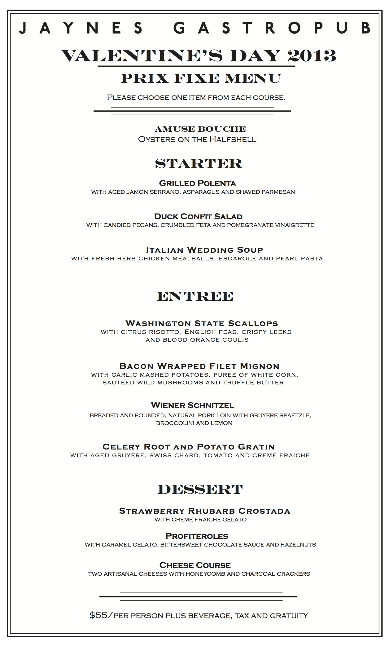 St Valentine S Day Menu And Jaynes 6 Year Anniversary